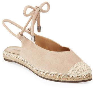 Schutz Laba Flat Leather Ankle-Tie Espadrilles