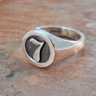 Van Buskirk Jewellery Personalised Number Round Silver Signet Ring