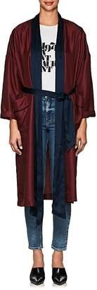 Raquel Allegra Women's Satin-Trimmed Silk Robe Jacket