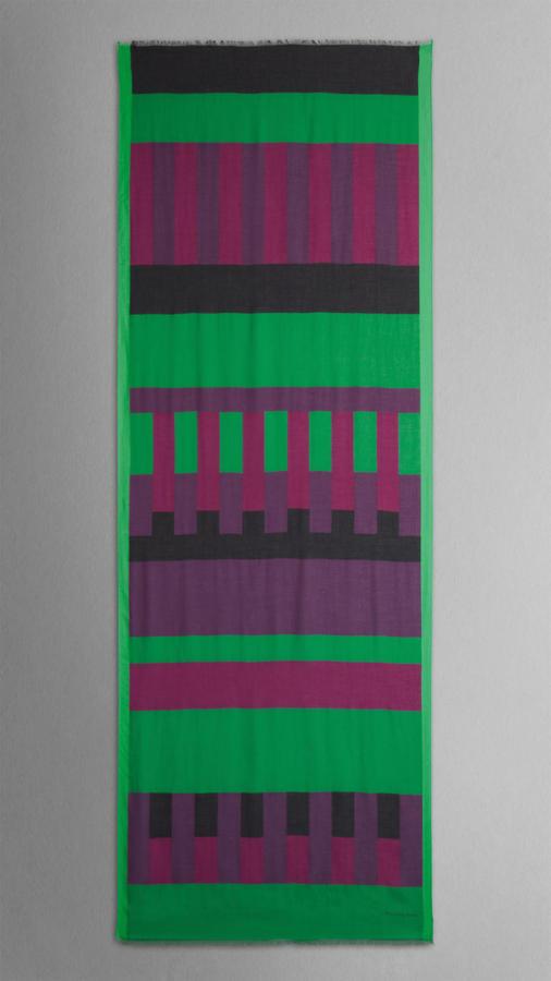 Burberry Geometric Stripe Modal Cashmere Scarf