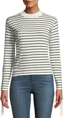 Avantlook Striped Grosgrain-Ribbon Sleeve Sweater