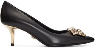 Versace Black Leather Medusa Heels $1,025 thestylecure.com