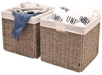StorageWorks Seagrass Hand-Woven Storage Basket with Iron Wire Frame, with Linen Lining, 2-Pack, Large, Foldable