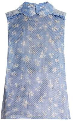 Miu Miu Floral Print Sleeveless Top - Womens - Blue Print