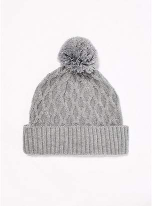 Topman Mens Grey Cable Bobble Beanie