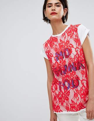 Asos T-Shirt with Print and Lace Overlayer