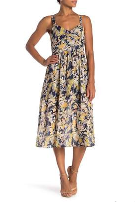 NSR Marie Bustier Floral Midi Dress