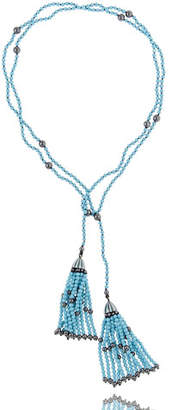 MCL by Matthew Campbell Laurenza Turquoise & Hematite Tassel Wrap Necklace
