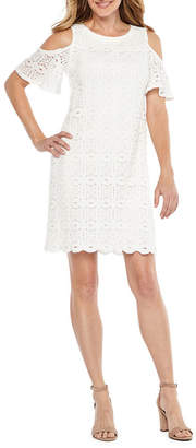Ronni Nicole Elbow Sleeve Cold Shoulder Medallion Lace A-Line Dress