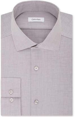 Calvin Klein Steel Men's Slim-Fit Non-Iron Performance Spread Collar Herringbone Dress Shirt