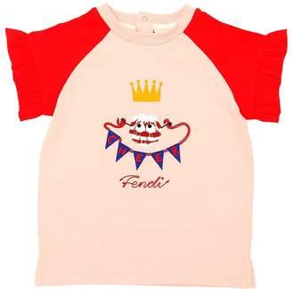 Fendi Pompom Cotton Jersey T-Shirt