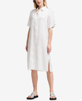 DKNY Short-Sleeve Linen Shirtdress, Created for Macy's