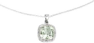 """Sterling Silver Cushion-Cut Gemstone Pendant w/18"""" Chain"""