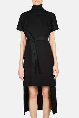 MM6 MAISON MARGIELA Belted Turtleneck Tunic Dress - Black