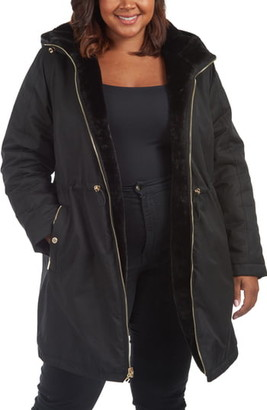 Rachel Roy Reversible Rain Parka with Faux Fur