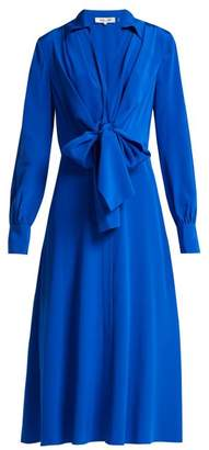 Diane von Furstenberg Von Waist Tie Silk Dress - Womens - Blue