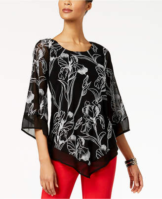 Alfani Petite Embroidered V-Hem Top, Created for Macy's