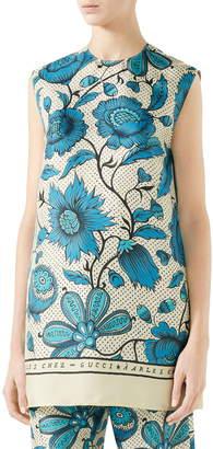 Gucci Watercolor Floral Print Silk Twill Blouse