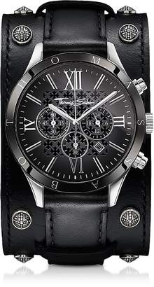 Thomas Sabo Rebel Icon Silver Stainless Steel Men's Chronograph Watch w/Black Leather Strap