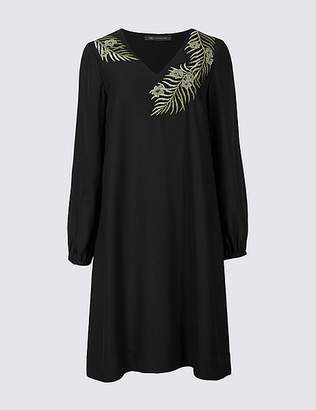 Marks and Spencer Embroidered Long Sleeve Tunic Midi Dress