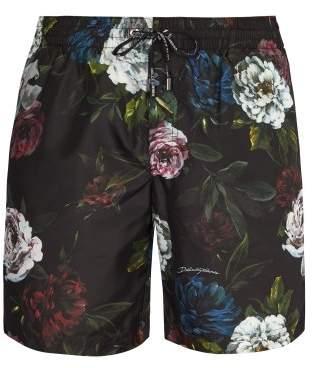 Dolce & Gabbana Rose Print Swim Shorts - Mens - Black Multi