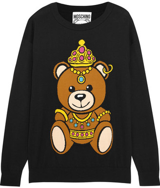 Moschino - Intarsia Cotton-jersey Sweater - Black $595 thestylecure.com