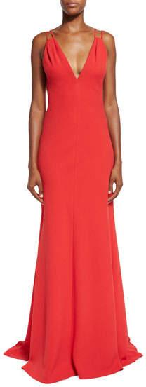 Carmen Marc ValvoCarmen Marc Valvo Sleeveless Double-Strap Jersey Gown, Red