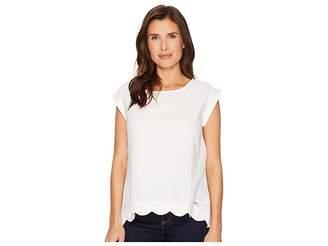 U.S. Polo Assn. Short Sleeve Scallop Top Women's Clothing