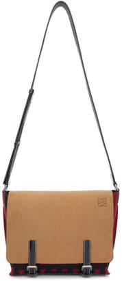 Loewe Beige and Red Grid S Military Messenger Bag