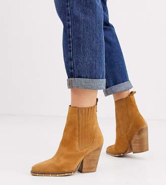 Asos Design DESIGN Wide Fit Relative suede studded heeled western boots