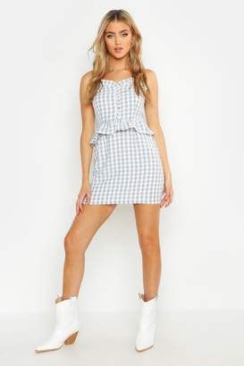 boohoo Ruffle Detail Gingham Mini Dress
