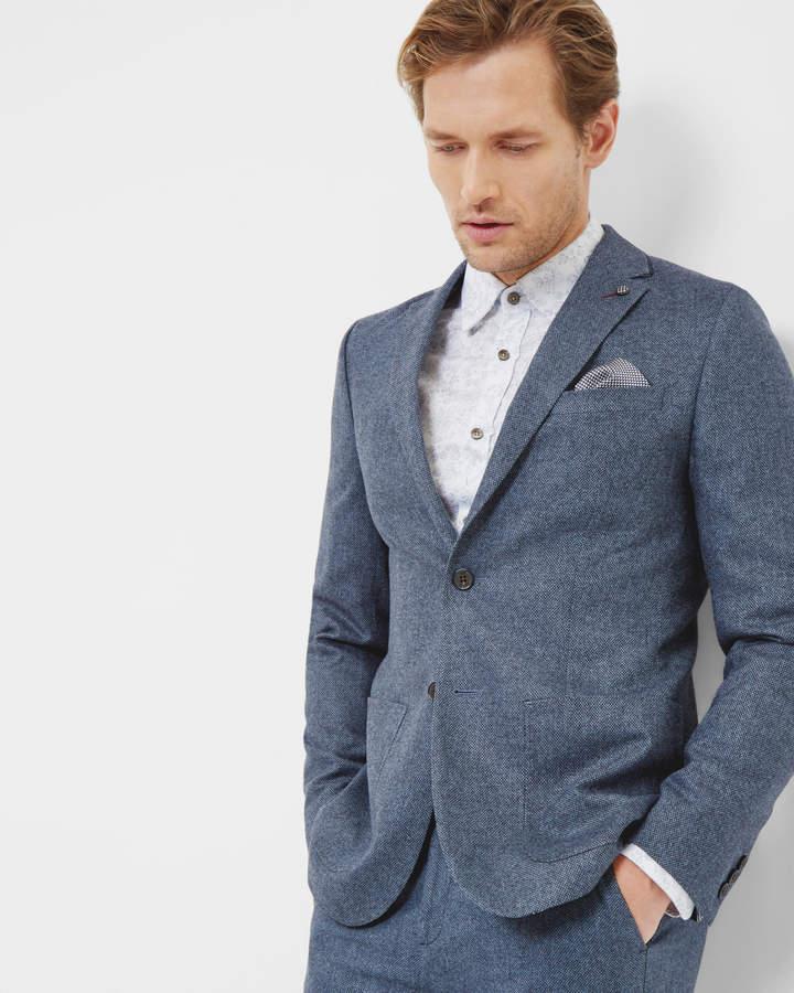 Ted Baker Herringbone Wool Jacket Blue
