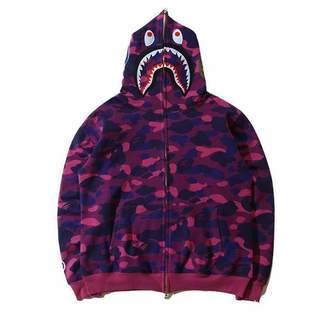 A Bathing Ape Sunny Popular BAPE Shark Head Coat Full Zipper Camouflage Jacket Hoodie (, M)