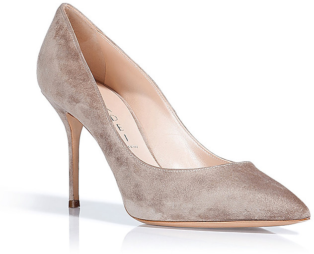 CASADEI Nude Suede Pointed Toe Pumps