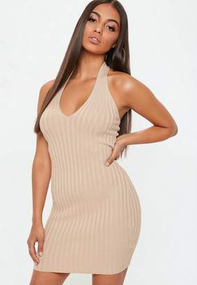 Missguided Ribbed Halterneck Knitted Mini Dress