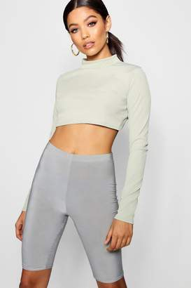 boohoo Rib Long Sleeve High Neck Crop