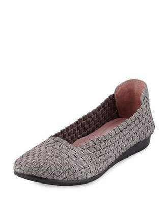 Taryn Rose Belicia Stretch-Woven Flat, Pewter $99 thestylecure.com