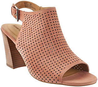 PeepToe Adam Tucker Perforated Suede Peep-toe Sandals -Meridia