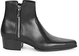 Balmain Women's Double Side Zip Leather Ankle Boots