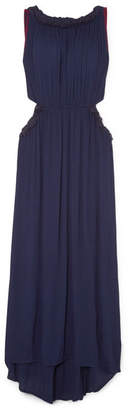 Sensi Studio - Frayed Cutout Crinkled-voile Maxi Dress - Navy