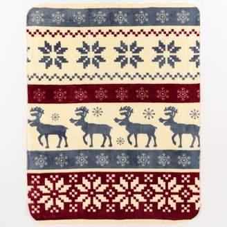 Kohl's Reindeer Stripe Hi Pile Luxury Throw