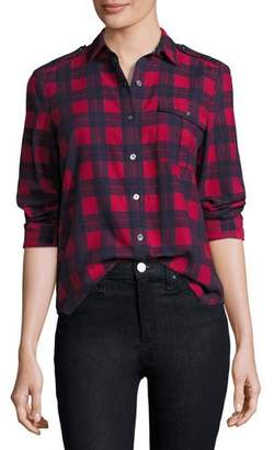 ATM Anthony Thomas Melillo Long-Sleeve Flannel Plaid Button-Front Blouse, Hollyberry/Midnight