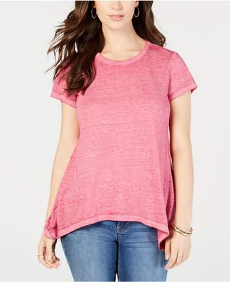 Style&Co. Style & Co Burnout Handkerchief-Hem T-Shirt