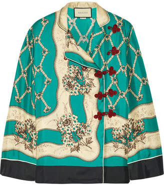 Gucci Printed Silk-satin Twill Blouse - Light blue