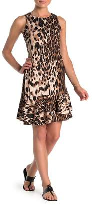 Robbie Bee Leopard Print Flounce Dress