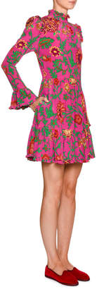 Visconti Double J Ruched Floral-Silk Mock-Neck Dress