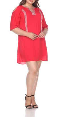 White Mark Women's Plus Size Cold Shoulder Short Dress