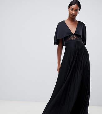 Asos Tall TALL Cape Pleated Lace Insert Maxi Dress