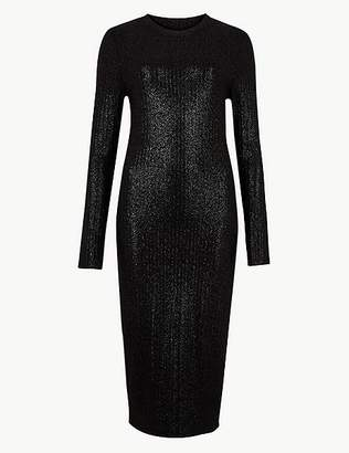 Marks and Spencer Sparkly Long Sleeve Bodycon Midi Dress