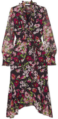 Equipment Palo Ruffled Floral-print Silk-chiffon Midi Dress